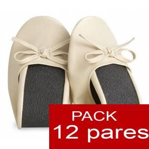 Enrollables - Manoletinas Bailarinas plegables / enrollables BEIGE - Lote de 12 pares (Últimas Unidades)